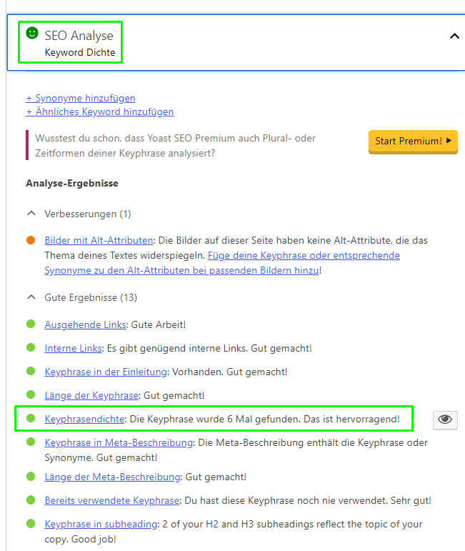 Optimale Keyword Dichte mit Yoast SEO.