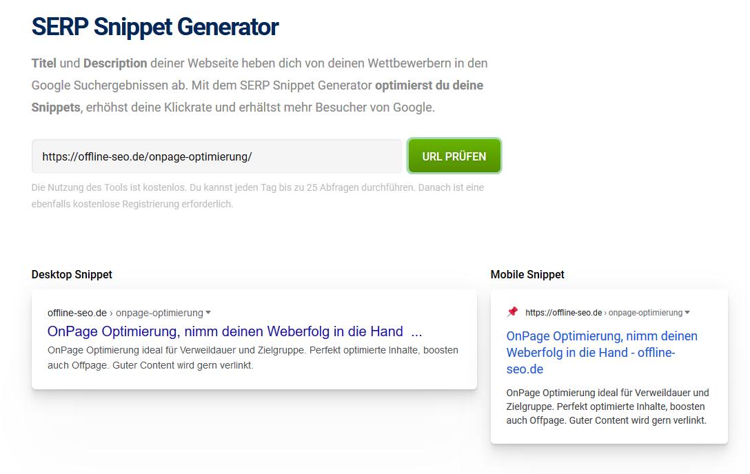 Optimiere deine Anzeige in Suchmaschinen, indem du Title und Description optimierst.